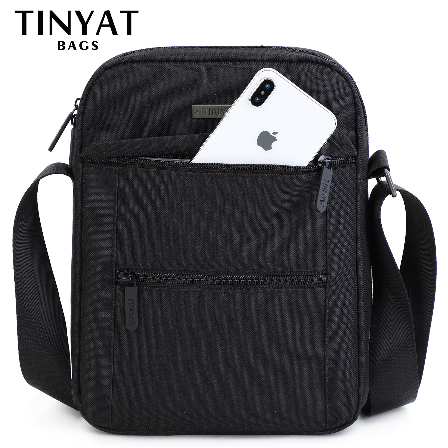 TINYTA Men's Bag Light Men Shoulder Bag For 9.7'pad 9 Pocket Waterproof Casual Crossbody Bag Black Canvas Messenger Bag Shoulder