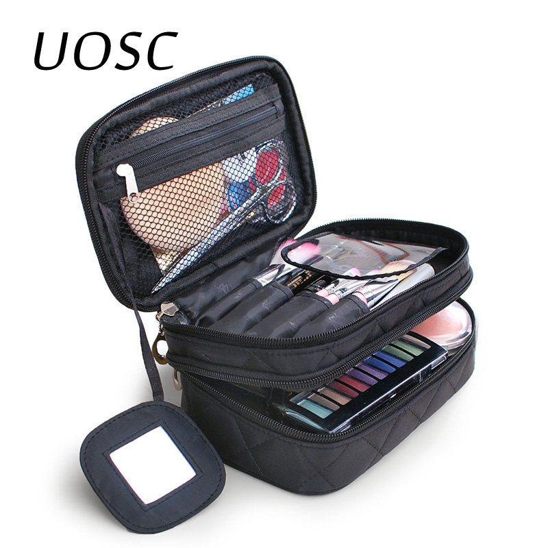 UOSC New Cosmetic Bag Double Waterproof Makeup Bag Travel Organizer Cosmetologist Case Multi-function Storage Bags With Mirror