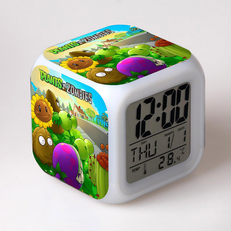 PVZ Plants Zombies Game Figuras Alarm Clock LED Flash Light Thermometer Plants vs Zombies Figma Toys image