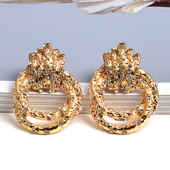 Irregular Metal Gold Rhinestone Dangle Drop Crystal Earrings 1