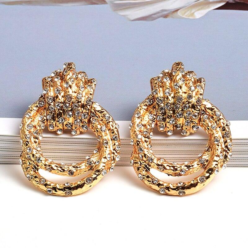 Новые необычные металлические золотые стразы висячие серьги высокого качества Модные украшения аксессуары для женщин оптовая продажа|Серьги-подвески|   | АлиЭкспресс