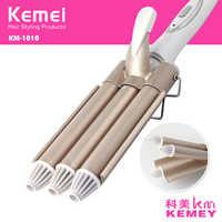 Rizador de pelo profesional de cerámica de hierro de barril Triple herramientas de estilismo de ondulación de pelo 110-220V rizador de pelo eléctrico 41D