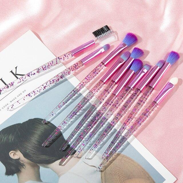 Glitter 10pcs Lovely Pink Unicorn Eye Brushes Set Eyeliner Eyebrow Eyeshadow Makeup Brushes Set Cosmetic Beauty maquiagem Tools 1