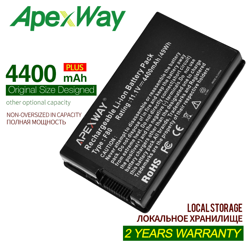 ApexWay 4400mAh Laptop Battery For Asus A32-A8 A32-F80A 90-NF51B1000 90-NNN1B1000Y A32-F80 A32-F80H NB-BAT-A8-NF51B1000 A8 A8Js