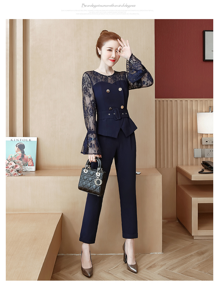Blue Lace Office Two Piece Sets Outfits Women Plus Size Flare Sleeve Tops And Pants Suits Elegant Ladies Ol Style Korean Sets 36