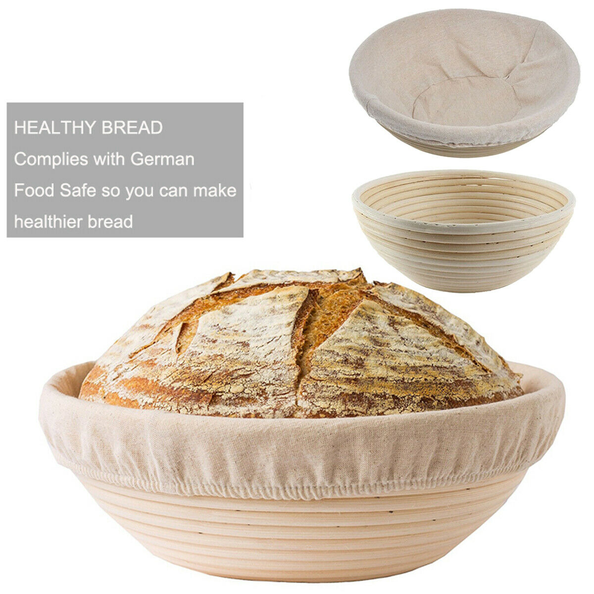 Round Banneton Dough Rising Rattan Bread Proofing Baskets For Home Baking HUG-Deals