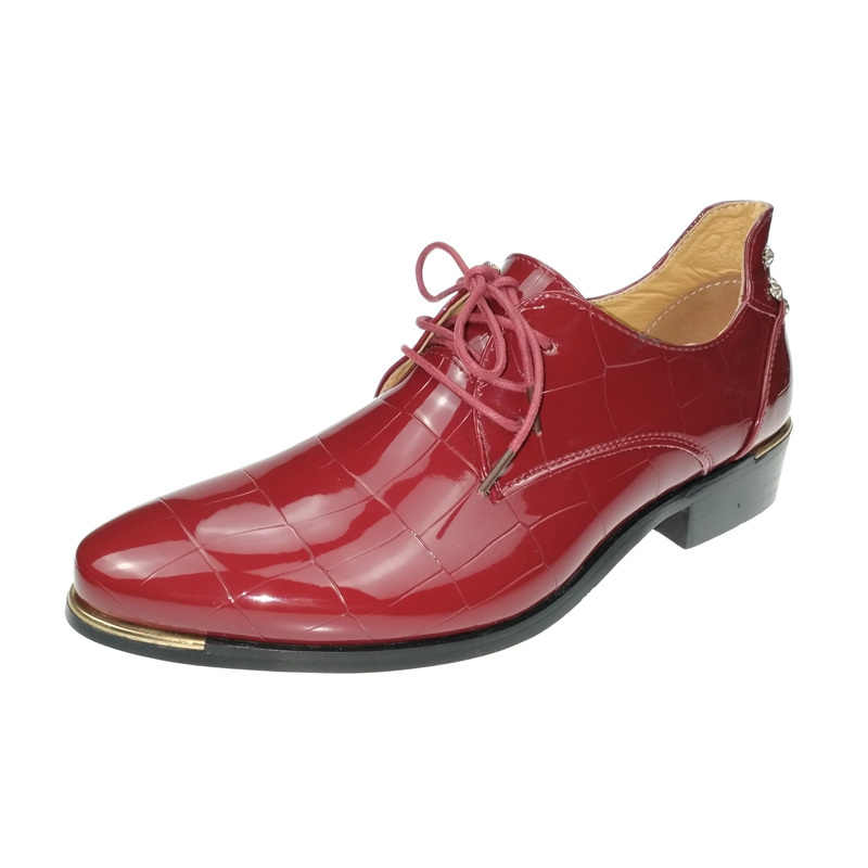 الربيع لامعة بو الجلود فستان رسمي أحذية رجالي مدبب تو براءات الاختراع والجلود الأعمال أحذية الزفاف الذكور أوكسفورد أحذية أحمر أزرق