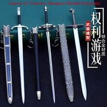цены Game of Rights 22CM Weapon Model Keychain Stark Family Sword Sword Weapon Home Decoration Bag Car Pendant Gift for Men