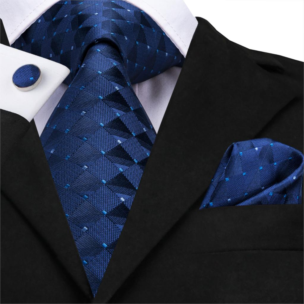 Men Solid Blue Tie Silk Woven Plaid Tie Checked Necktie Set Cufflinks For Suit Shirt Dots Tie 150cm Hi-Tie SN-3525 Wholesale