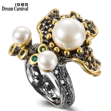 DreamCarnival 1989 Blooming Flower Pearls Ring for Women Wedding Engagement Green Tone Zirconia Black Gold Color Jewelry WA11755 dreamcarnival 1989 created pearls wedding ring for women anniversary zircon gift perla anillos bagues femme ringen wa11264