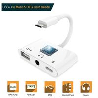 Dual Fast Charging Cellphone Cord White Color 3 in 1 Type C To USB 3.5mm USB C Digital Audio Cable Supports Type C OTG Popular