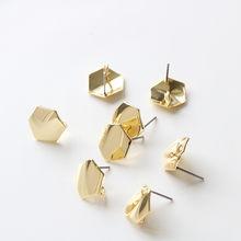 Основа для сережек «сделай сам», шестигранная фурнитура для изготовления ювелирных изделий, комплектующие для сережек-гвоздиков, 10 штук