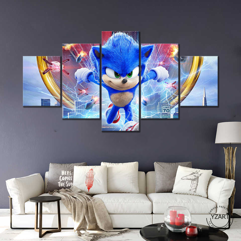 Sonic The Hedgehog Hd Game Poster Decoration Bedroom Room Wall Painting Decorative Picture Christmas Gift Household Soft Outfit Painting Calligraphy Aliexpress