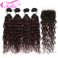 4PCS Water Wave Ombre Bundles With Closure SOKU Brazilian RedWine Human Hair Weave Bundles With Closure Non Remy Hair Extension