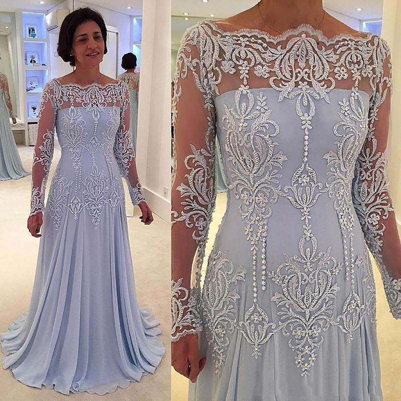 Plus Size Mother Of The Bride Dresses A-line Long Sleeves Chiffon Lace Beaded Long Groom Mother Dresses For Weddings
