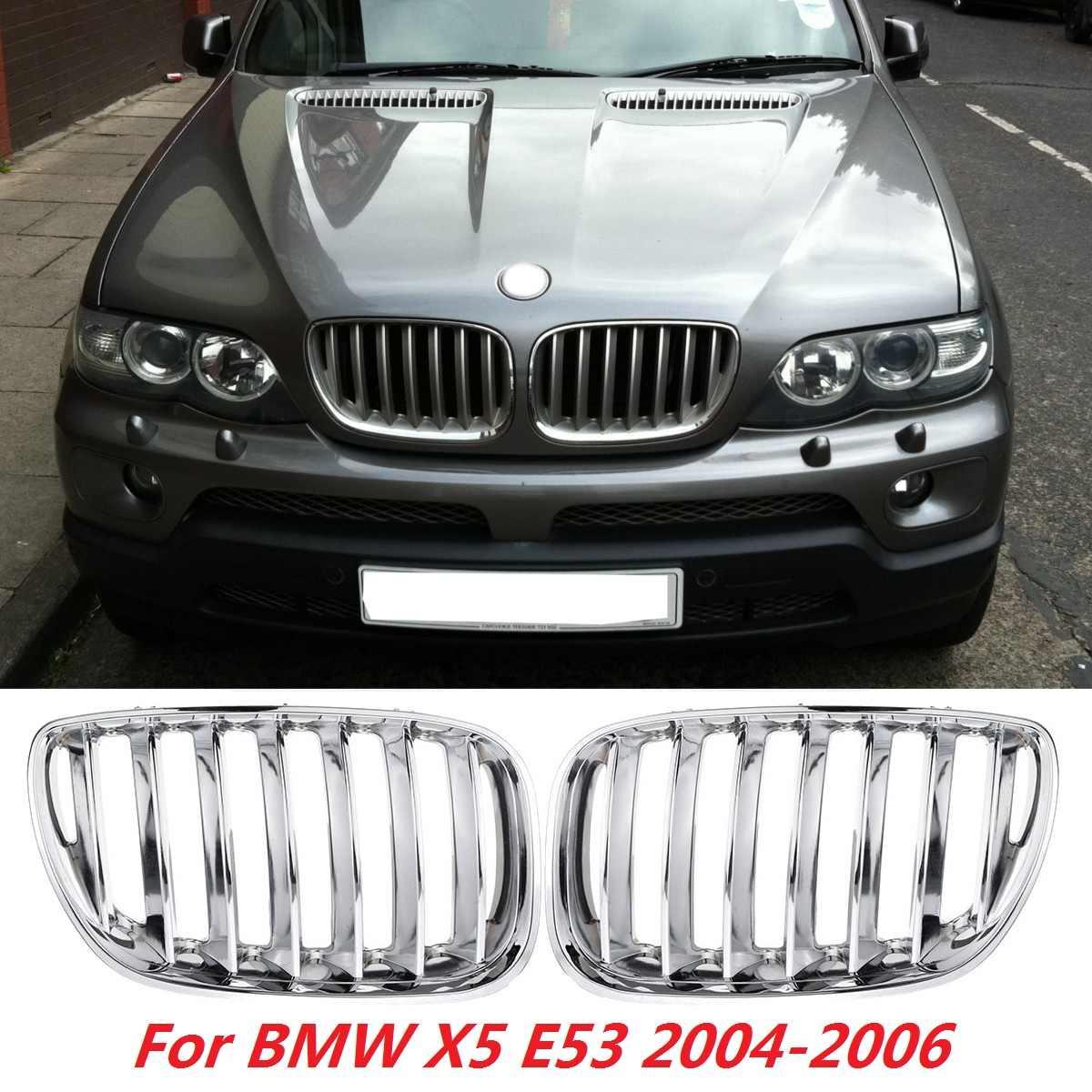 Pareo negro mate cromado frontal de la rejilla de rejillas deportivas del riñon para BMW X5 E53 2004-2006 parrilla delantera del parachoques del coche