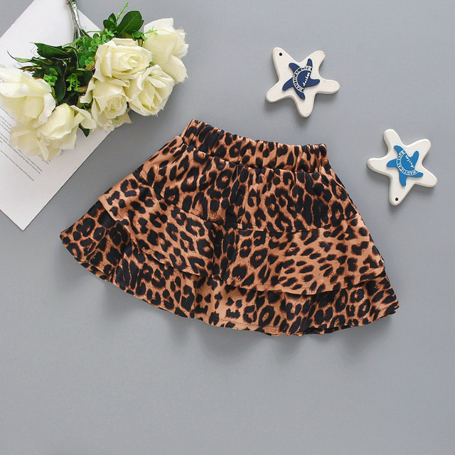 Enfants jupes léopard imprimé vêtements jupes bébé enfants princesse à plusieurs niveaux jupes fille populaire jupe enfants vêtements dété