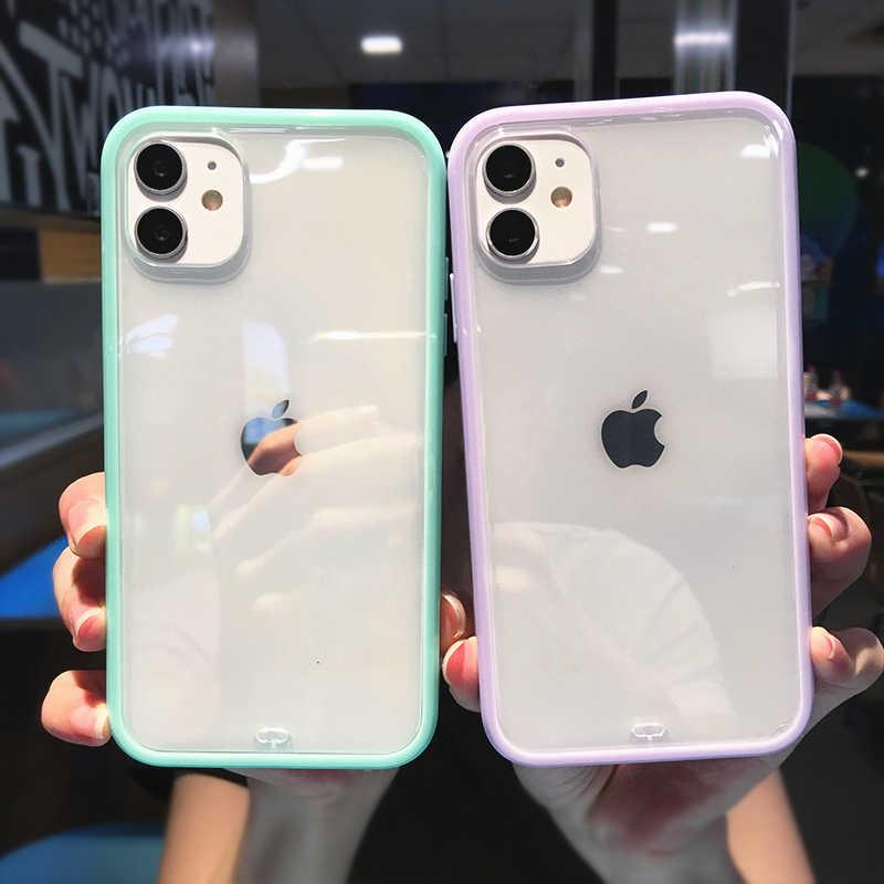 Противоударный бампер, прозрачный силиконовый чехол для телефона iPhone 12 11 Pro Max X XR XS 7 8Plus 12Pro, мягкая рамка из ТПУ, прозрачная задняя крышка
