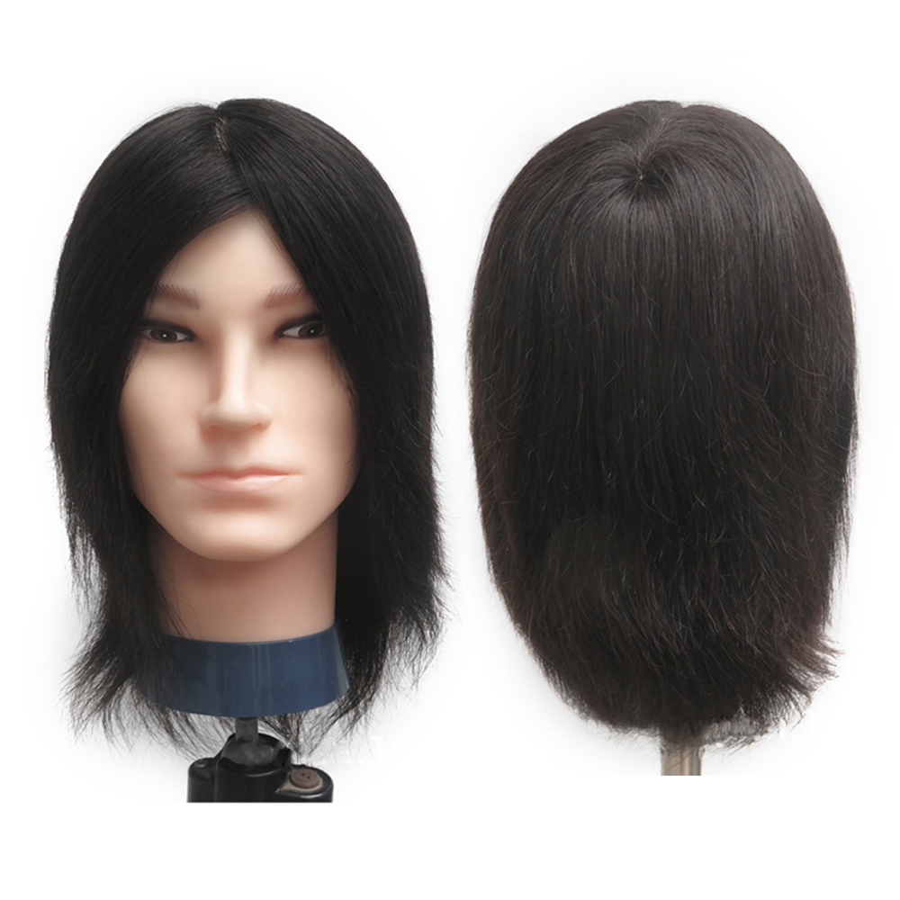 Professional Male Training Head Beauty 25cm Long Hair no Shoulder Mannequin Model Head Makeup Modeling with 100% Human Hair