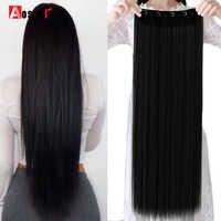 AOSIWIG 32 ''-38'' 5 Clip Lange Gerade Natürliche Farbe Haar Extensions Hohe Temperture Faser Synthetische 5 Clip in Haar Extensions