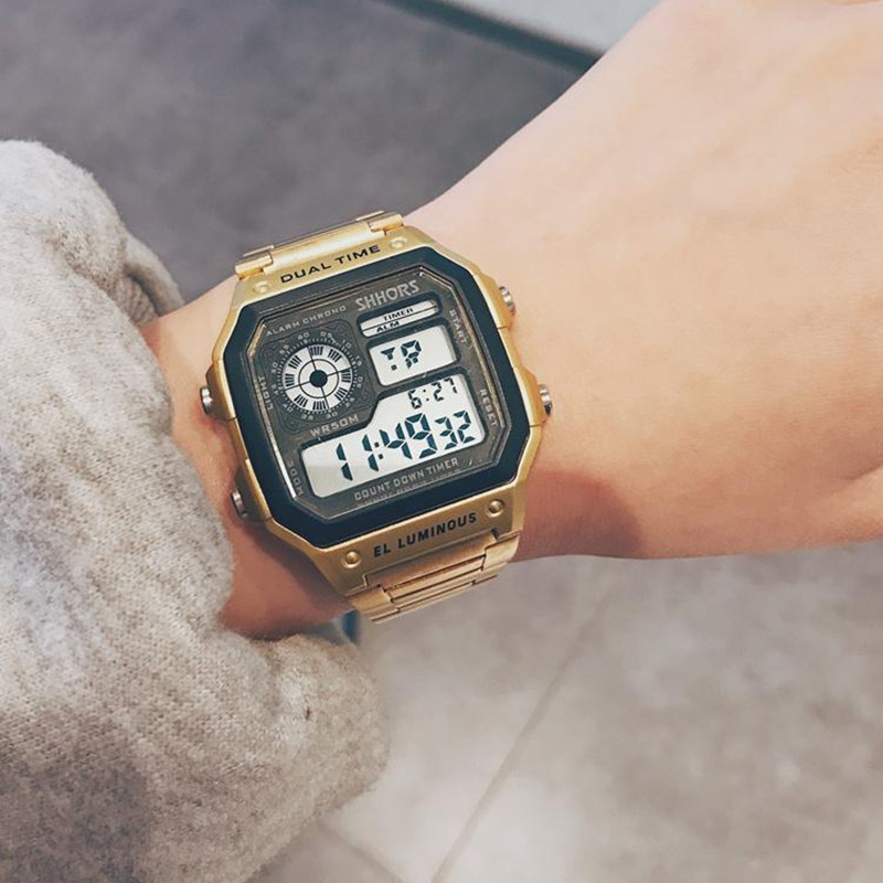 Business Men Watches Waterproof Sport Watch Stainless Steel Digital Wristwatches Clock Hour Relogio Masculino Erkek Kol Saati