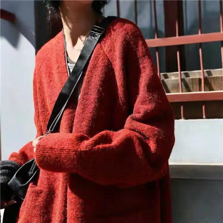 Casual Women Cardigans Long Sweater V Neck Joker Loose Knitted Wear Casual Knit Outwear Solid Coat Spring Autumn in Cardigans from Women 39 s Clothing