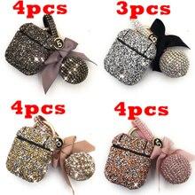 15 pçs/lote luxo diamante caso decorativo para apple airpods fone de ouvido chaveiro capa protetora pele para airpods 1 2, MYL 88V
