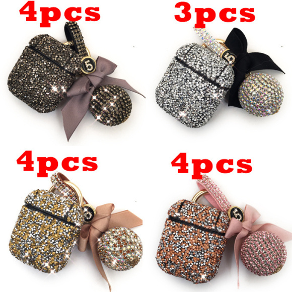 15pcs/lot Luxury Diamond Decorative Case For Apple Airpods Earphone Keychain Protective Cover Skin For Airpods 1 2 , MYL-88V
