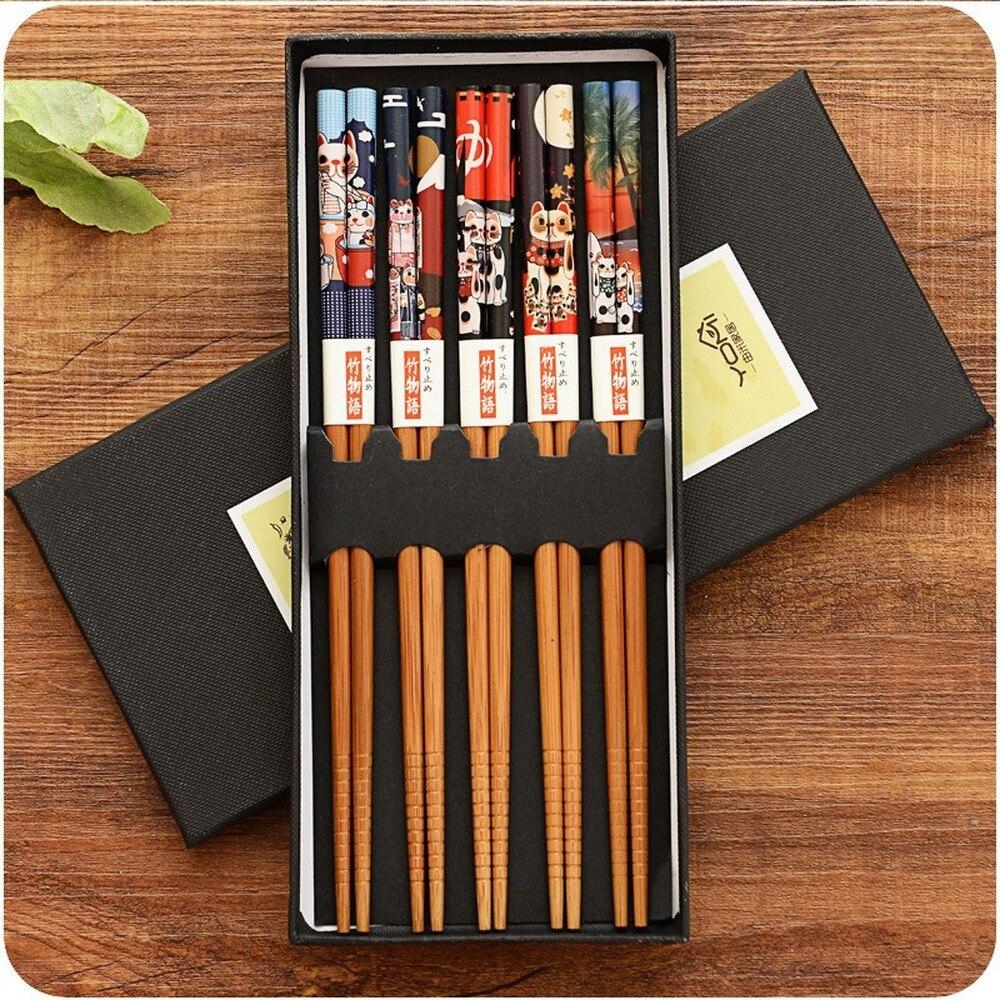 Многоразовые 5 пар набор ручной работы бамбуковые японские натуральные