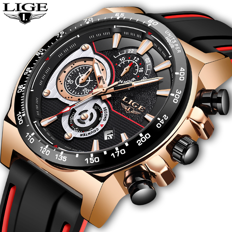 New LIGE Top Luxury Men Watches Classic Silicone Design Men Watch Sports Waterproof Wristwatch Male Quartz Relogio Masculino 1