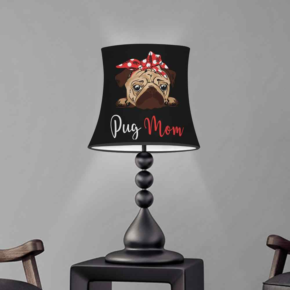 Kain Meja Kap Lampu Cute Pug Anjing Cetakan Kap Lampu Bergaya Eropa Modern Lampu Dinding Mencakup Lampu Kristal/Lampu Lilin warna