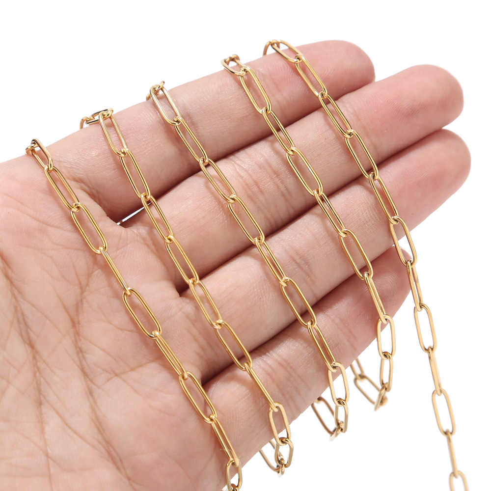 1 Meter 4mm width Stainless Steel Gold Tone Circle D Rolo Link Chain for Women Necklace Bracelet Making