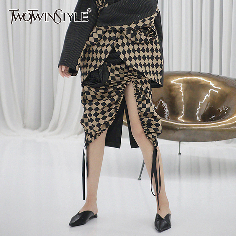TWOTWINSTYLE Patchwork Flower Plaid Hit Color Skirt For Women High Waist Drawstring Ruched Skirts Female 2020 Spring New