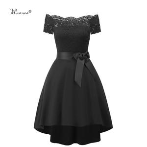 Image 3 - 7 Colors 2020 Short Lace Prom Dress Burgundy Black Zipper Side A Line With Bow Robe De Soiree Party Dress For Plus Size Woman