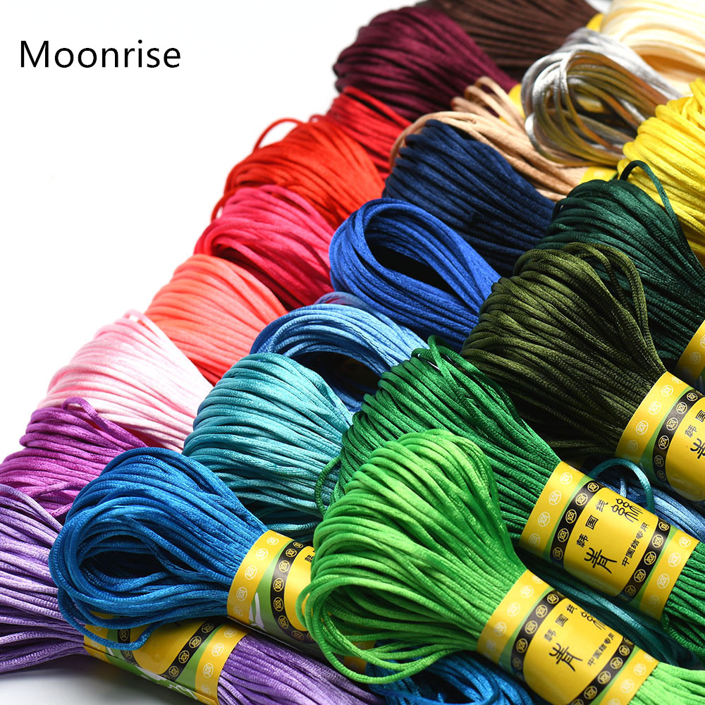 20M 1.5mm Satin Nylon Trim Cord, Rattail Cord Chinese Knot