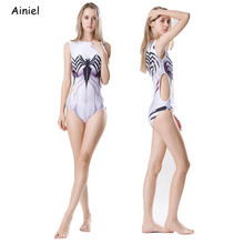 Cosplay Costume Spider Female One-Piece Girls Swimsuit Halloween Sexy White Women Purple