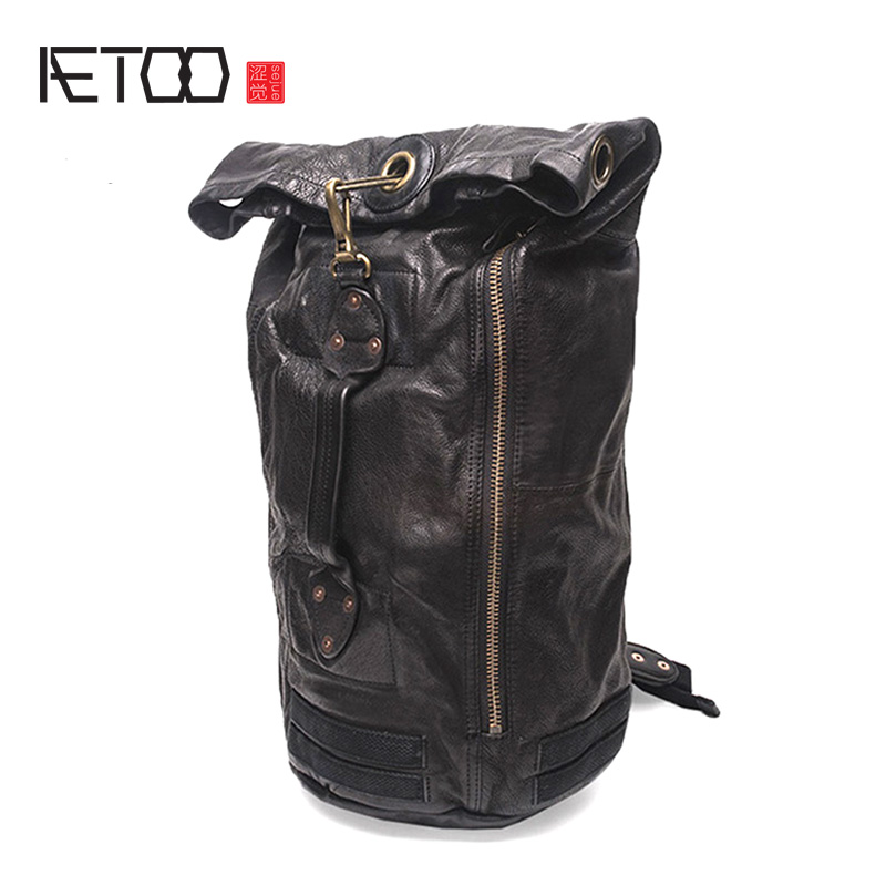 AETOO Leather small square bag, male head leather casual shoulder bag, leather hand-made vertical trend slant bag