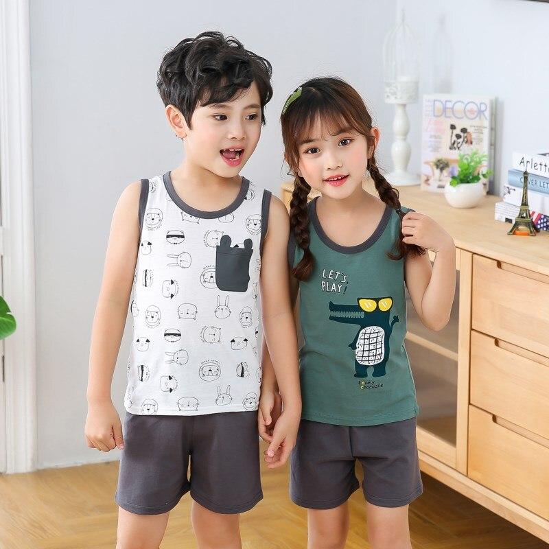 Summer Children's Pajamas Sleeveless Pyjamas Kids T-shirt+Pants 2pcs Cartoon Pajamas For Girl Boys Baby Sleepwear Nightwear