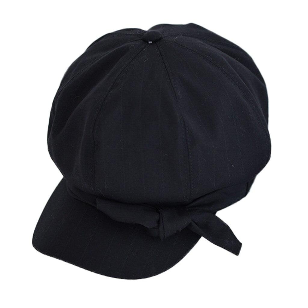 Корейский винтажный берет для девочек, Вельветовая женская шапка, Повседневная однотонная хлопковая весенне-летняя розовая британская шляпка - Цвет: Black