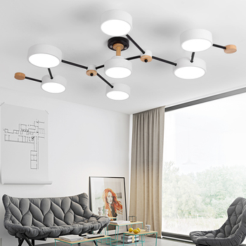 BOTIMI Modern Designer 220V LED Chandelier With Gray Metal Lampshade For Living Room White Iron Ceiling Mounted Home Lighting 1