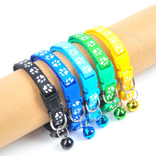 Cartoon Dog Cat Collars With Bell Adjustable Polyester Buckle Collar Cat Pet Supplies Accessories Collar Small Dog Collars