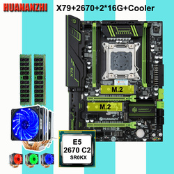 Discount computer HUANANZHI X79 Pro motherboard with DUAL M.2 NVMe slot CPU Xeon E5 2670 C2 with 6 tubes cooler RAM 32G(2*16G)