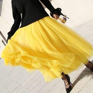 Image 3 - Jesienno zimowa bardzo długi siatkowy koronkowy Vintage rozkloszowana spódnica kobiety żółty tiul w pasie plaża podróżna piłka duża huśtawka spódnice