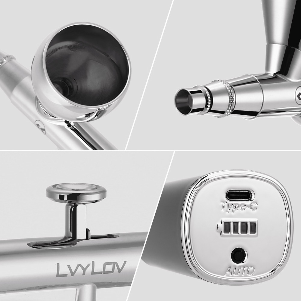 6 CC Cup Lvylov Portable Airbrush Kit with Dual-Action Airbrush 0.3mm Needle Black Airbrush Kit Mini USB Rechargeable Air Compressor Low Noise for Art Hobby,Makeup,Nail Art,Cake Decoration