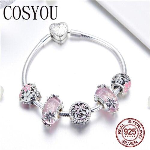 COSYOU 2019 925 argent Sterling jardin fée rose perles de verre européennes bracelets porte bonheur et bracelets bijoux en argent Sterling SCB821 - 2