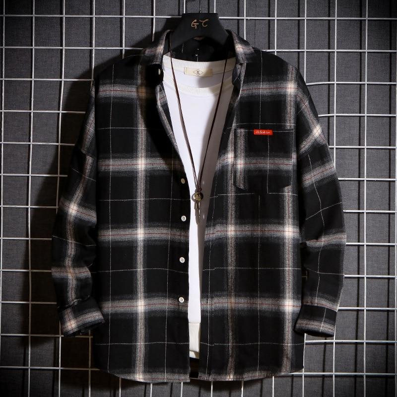 Fashion Plaid Shirt Men Spring Autumn Coat Young Cool Boy Streetwear Long Sleeve Vintage Shirts Men's Clothing