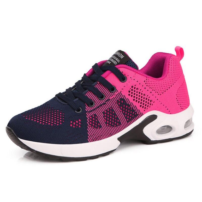 KAMUCC/Новинка; женские кроссовки на платформе; дышащая женская повседневная обувь; модная женская обувь, увеличивающая рост; большие размеры 35-42 - Цвет: Розовый
