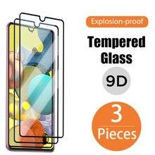 3PCS 9D Completa Tampa De Vidro para Samsung Galaxy A50 A10 A70 A20 A40 A30 Protetor de Tela para Samsung A51 A71 A21S A31 A41 A11 A12