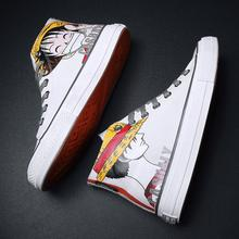 One Piece Hand-Painted Luffy Anime Shoes Graffiti Couples