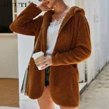 2019 Autumn New Loose Women Coat Fit Fuzzy Coat Pocket Solid Winter Clothes Female Oversized Style Top Khaki  Green White D30 fuzzy double pocket loose dress